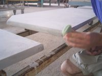 Preparation before glazing - Glazed lava, Lava rock for kitchens and bathrooms